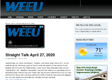Interview – Straight Talk with Nick Lawrence on WEEU 830 AM (05/02/20)
